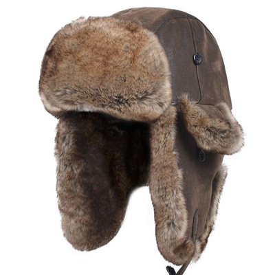 Winter Trapper Pilot Aviator Knit Russian Ushanka Leather Bomber Hat